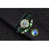 cc5ee4460fe Relógio Pulseira Couro Verde Com Pingente Brasil Feminino