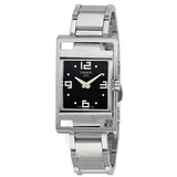 8241c351a70 Relógio Tissot Feminino T open Preto prata aço Retângulo