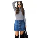 1c8f8bf5f7 Saia Jeans Cintura Alta Botões Botão Frontal Frente Feminina