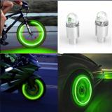 Tampa Válvula Bico Pneu Carro Moto Led Verde   Par