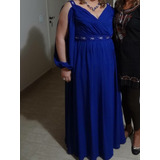 Vestido De Festa Longo Azul Royal Tamanho Eg xxg