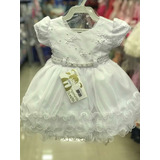 b0ab095f2a Vestido Infantil Bebê Branco Batizado faixa