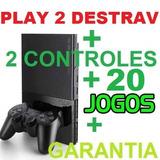 Video Games Play 2 Seminovo Completo 20 Jogos   Garantia